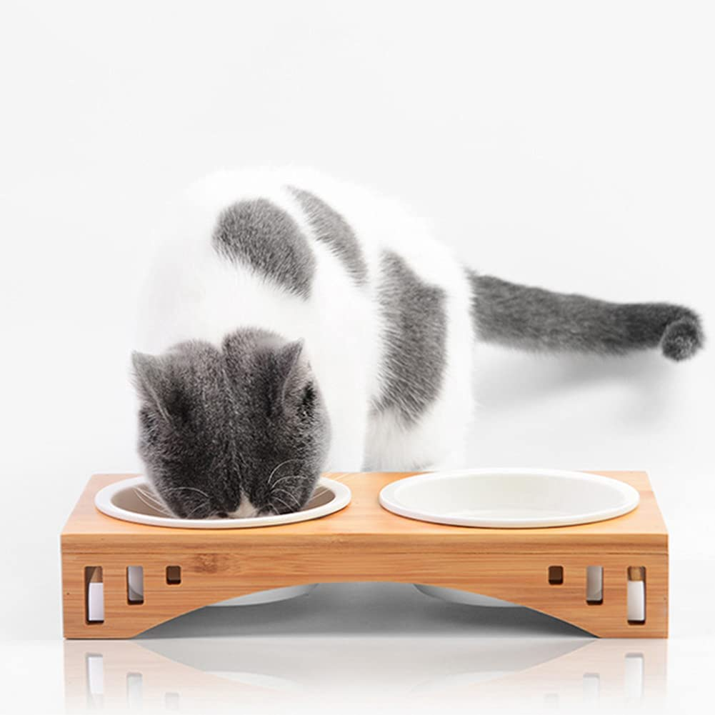 croselyu Wooden Cat Bowl Rack Easy-to-use C Outstanding Stainless Steel Ceramic
