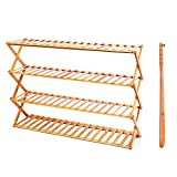 Eco-Friendly bamboo adjustable shoe rack,free installation (4-Tier, Bamboo)
