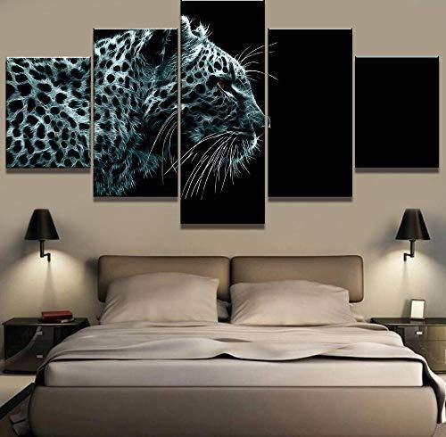 Rkmaster-5 Piezas De Pintura De Impresión De Alta Definición Leopardo Eléctrico Cuadros Decoracion Pintura Arte Sobre Lienzo, Decoración De Pared Para Decoración Del Hogar