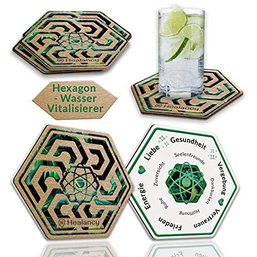 HEALANCY BIOMEDICAL Wasser Aktivierung & Belebung - 4 x Aktiv-Hexagonal Untersetzer für Trinkgläser und Wasserkaraffe. Unterstützt wirkungsvoll eine gesundheitsbewusste Lebensweise.