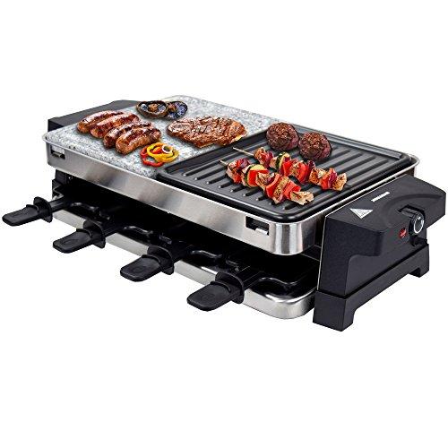 Syntrox Germany Edelstahl Design Raclette Bern mit Grill und Heißer Stein für 8 Personen