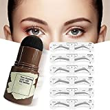 1-Step Brow Stamp Shaping Kit With 12 PCS Eyebrow Definer, Waterproof Eyebrow Stamp, Hairline Shadow Powder Stick, Contouring Pen(Black-brown)