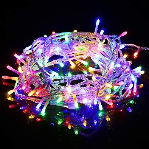 10M 100 LEDs Lichterkette, 8 Leuchtmodi Dimmbar, Strombetrieben mit EU Stecker, IP44 Wasserdicht, Lichterkette für Party, Feier, Hochzeit, Weihnachtsbeleuchtung warmweiß/kaltweiß/bunt/Blau