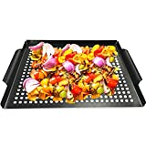 """MEHE Grill Basket, Thicken Will not Warped, Nonstick Grilling Topper 14.6""""x11.4 Grill Pan BBQ Accessory for Grilling Vegetable, Fish, Shrimp, Meat, Camping Cookware"""