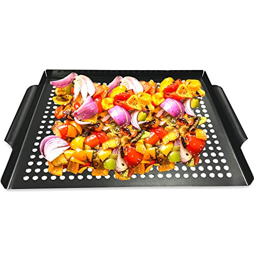 MEHE Grill Basket, Thicken Will not Warped, Nonstick Grilling Topper 14.6'x11.4 Grill Pan BBQ Accessory for Grilling Vegetable, Fish, Shrimp, Meat, Camping Cookware