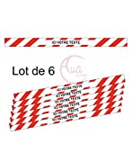 AUA SIGNALETIQUE - Lot de 6 Bandes de Marquage au Sol - sur-Mesure - Rouge - Autocollant laminé - 670x50 mm