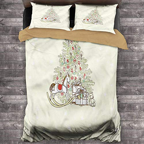 LanQiao Christmas Medium Double Duvet Cover Tree with Rocking Horse King Duvet Cover 104'x89' inch