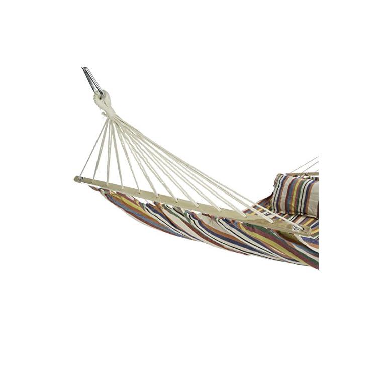 Ultranatura-Amaca-con-Barra-della-Serie-Bali-per-2-Persone-Inclusi-2-Cuscini-70-x-40-cm-ca-220-x-160-cm-carico-utile-Fino-a-150-kg-Arcobaleno-220x160x5-cm