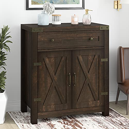 """Hoomic 32"""" Farmhouse Accent Cabinet with Drawer & Adjustable Shelves, Entryway Rustic Buffet Cabinet with 2 Doors for Living Room, Kitchen, Bathroom, Espresso"""