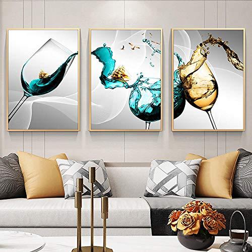 """Resumen Copa De Vino Azul Vino Dorado Velero 3 Piezas Cuadros De Pared Póster Impresiones De Lienzo Azul Arte De Pared Para Cocina Decoración De La Pared Del Hogar 12""""X16""""X3Panels"""