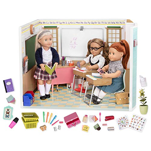 Our Generation Awesome Academy School Set - 76Piece Set, Compatible with 18' Dolls, Brown/A BD37330