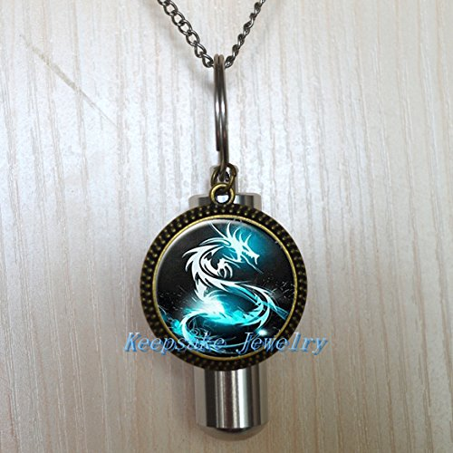 Blue Dragon Cremation Necklace Jewelry - Cremais Jewelry-Stainless Steel Urn Blue Dragon Cremation Necklace-Remembrance Necklace-Sympathy-Urn for Ashes