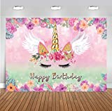 LTLYH 5x3FT Unicorn Backdrop Pink Floral Unicorn Photography Background Pink Theme Birthday Party Decoration Photo Booth A054