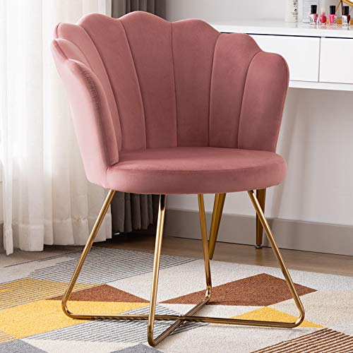 Duhome Velvet Accent Chair Vanity Chair Makeup Chair Guest Chair Tufted Desk Chair Living Room Chair with Golden Metal Legs Pink