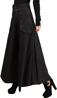 ELPIS レディース スカンツ 極太 ワイド パンツ スカーチョ 大きめ サイズ 豊富 3色 ブラック M