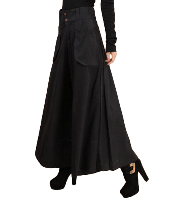 ELPIS レディース スカンツ 極太 ワイド パンツ スカーチョ 大きめ サイズ 豊富 3色 ブラック L