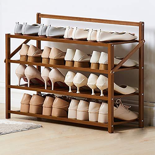 Porta Zapateros De 4 Niveles,Simple Hogar Puso Puerta Pequeña Estante De Zapatos Económicos,Bambú Estantes Plegables De Zapatos De Pie Libre,Estante De Zapatos Para La Entrada-Marrón 70x23.8x60cm