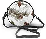 naotaori Bolso redondo mujer Pine Branches Cones Forest Wood Pattern Women Soft Leather Round Shoulder Bag Zipper Circle Purses Sling Bag