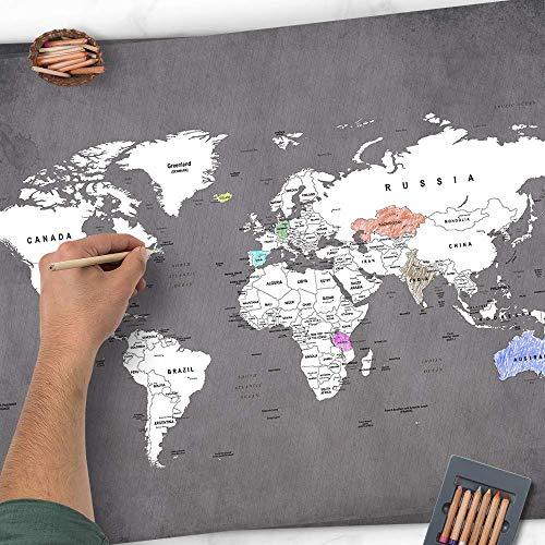 Golden Posters Weltkarte zum Ausmalen - Individuelle Weltkarte zum Ausmalen A3 Freunde (Grau)