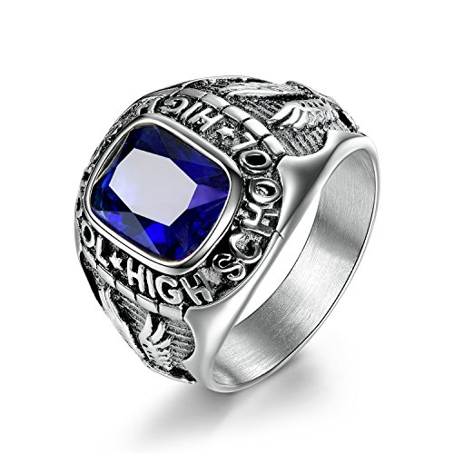 MASOP Stainless Steel High School Rings for Men Sapphire Color Blue Crystal Boys Jewelry Rings Size 9
