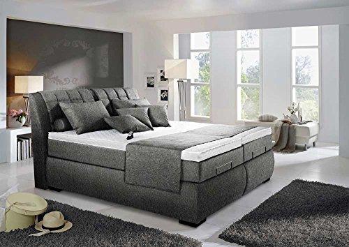 lifestyle4living Boxspringbett in grau-schwarz, elektrisch, 2 Tonnentaschenfederkernmatratzen auf Taschenfederkern, 2 Gelschaumtopper Maße: 180 x 200 cm