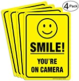 (4 Pack) Smile You're on Camera Video Surveillance Sign - 10 x 7 Inches - .040 Rust Free Heavy Duty Aluminum - Indoor or Outdoor Use for Home Business CCTV Security Camera,UV Protected & Reflective