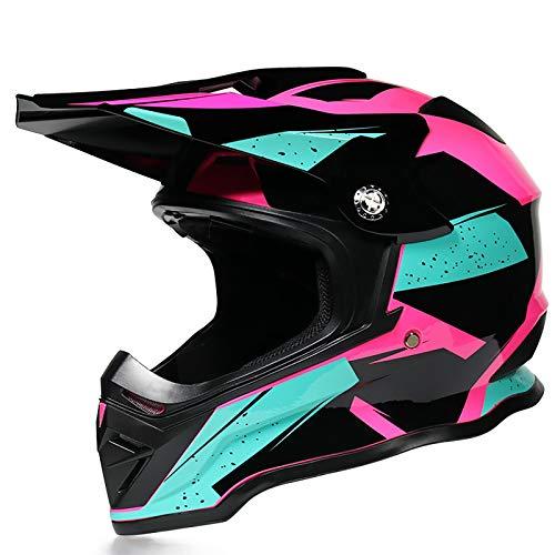 DLPAC Off-Road Motorcycle Crash Helmet for Men Women, Adult Offroad Gear Combo Gloves Goggles Motocross ATV Dirt Bike MX Downhill Quad Full Face DOT Certified (53-60CM)