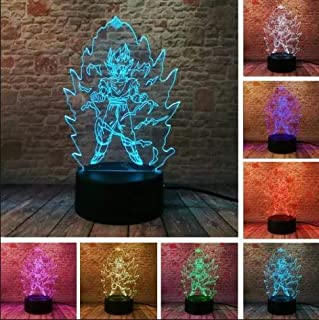 Dragon Ball z Super Saiyan God Goku Action Figures 3D Illusion Table Lamp 7 Color Changing Night Light Boys Child Kids Baby Gifts Christmas Xmas Birthday
