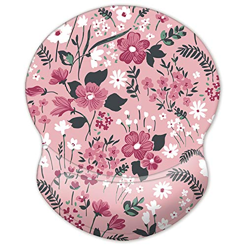 ITNRSIIET Mouse Pad, Ergonomic Mouse Pad with Gel Wrist Rest Support, Gaming Mouse Pad with Lycra Cloth, Non-Slip PU Base for Computer, Laptop, Home, Office & Travel Pink Floral