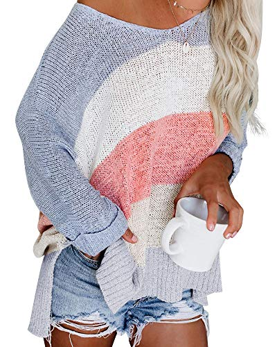 ETCYY NEW Womens Oversized Pullover Sweater Colorblock Rainbow Striped Casual Long Sleeve Loose Knitted Shirts Tops (White, Small)