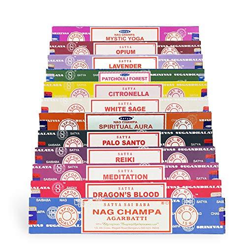Paquete de 12 varillas de incienso Satya Nag Champa, Super Hit, meditación, bosque de pachulí, Palo Santo, salvia blanca, lavanda, citronela con varilla de incienso Shakti por Buyer Express.