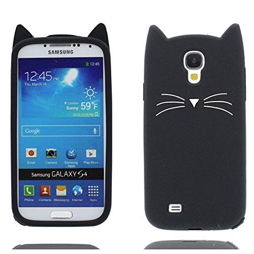 EarthNanLiuPowerTu Samsung Galaxy S4 Custodia, 3D Cartoon Carattere Soft TPU Flessibile Protettivo Case Copertura per Samsung Galaxy S4 Antiurto (Galaxy S4 I9500, Nero 3D Gatto)