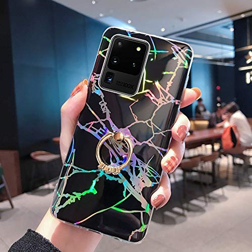 NSSTAR Compatible avec Samsung Galaxy S20 Ultra Coque avec avec Anneau Support Paillette Brillante Strass Marbre Motif Coque Silicone Antichoc Housse Étui TPU Ultra Mince Souple Bumper Housse,Noir