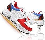 Deformación 4 Rueda Patines 2 En 1 Skate Ligeros Calzado para Niñas Y Niños para Niños Adolescentes Y Adultos En Paralelo Zapatos Multiusos,White Red,37