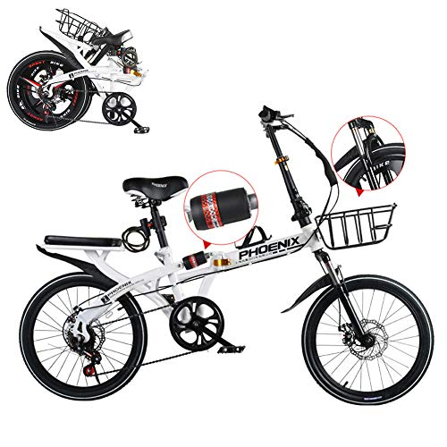 TopBlïng Estudiantes Bicicleta De Ciudad con Una Canasta,para Escuela Conmutar Ciudad Ciclismo,20 Pulgadas Bicicleta Plegable,Doble Absorción De Impactos,Freno De Disco Doble,Velocidad Variable-C