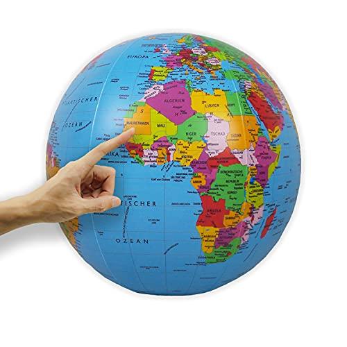 ORBIT GLOBES & MAPS - Wasserball aufblasbar, großer Globus für Kinder, deutsch, Durchmesser 40cm, politisches Kartenbild, für Garten, Strand und Pool
