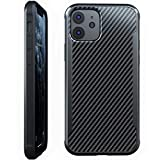 Nicexx Designed for iPhone 12 Case/Designed for iPhone 12 Pro Case with Carbon Fiber Pattern, 12ft. Drop Tested, Wireless Charging Compatible - Black
