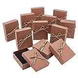 NBEADS 12 cajas de joyería de cartón, caja de regalo de joyería rectangular Burlywood para joyas, pulseras, collares, manualidades, exhibición y almacenamiento, 9 x 7 x 2,8 cm