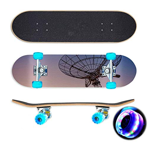 UYDBKSJABM Satellite Dishes Antenna Skateboard Colorful Flashing Wheels Extreme Sports&Outdoors 31''Cruiser Complete Standard Longboard Beginners Kids Cool Boys Teen
