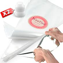 Weetiee Pastry Piping Bags -100 Pack-12-Inch Disposable Cake Decorating Bags Anti-Burst Cupcake Icing Bags for all Size Tips Couplers and Baking Cookies Candy Supplies Kits - Bonus 2 Couplers