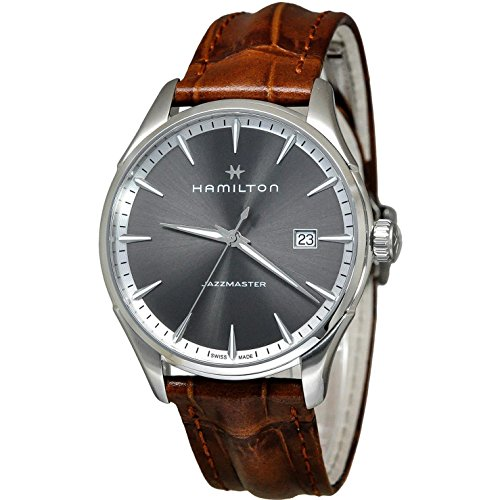 HAMILTON Herren-Armbanduhr 40MM Armband Leder BRAUN Quarz ANALOG H32451581