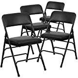 Flash Furniture 4 Pk. HERCULES Series Curved Triple Braced & Double Hinged Black Vinyl Metal Folding Chair
