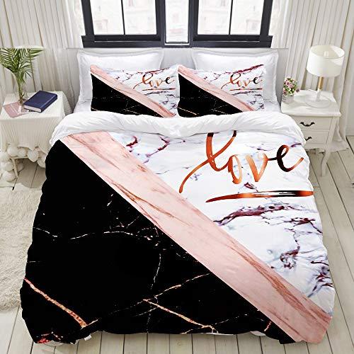 SnowXXL Parure de lit Adulte,Housse de Couette,Élégant marbre Or Rose avec Amour,1 Housse de Couette 220 x 240cm + 2 Taies d'Oreillers 50 * 75 CM