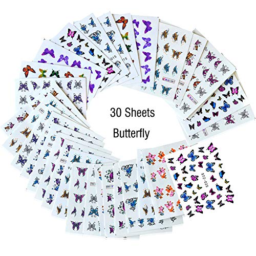 Lookathot 30Sheets Nail Art Stickers Decals Butterfly Design Pattern Water Sky Star Foil Paper Printing Transfer DIY Decoration Tools Accessories