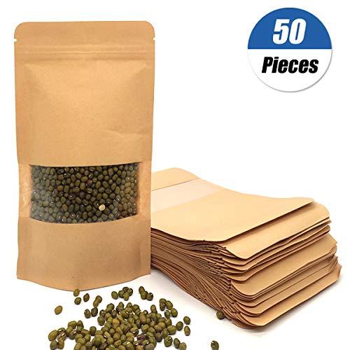 50 Stk Stehkraftpapiertaschen mit Reißverschluss,Geschenktüten Kraftpapier tüten Kraftpapiertüten kleine mini Papierbeutel lebensmittel-echt Verpackung zum Befüllen Kraftpapier Tee-Tüten