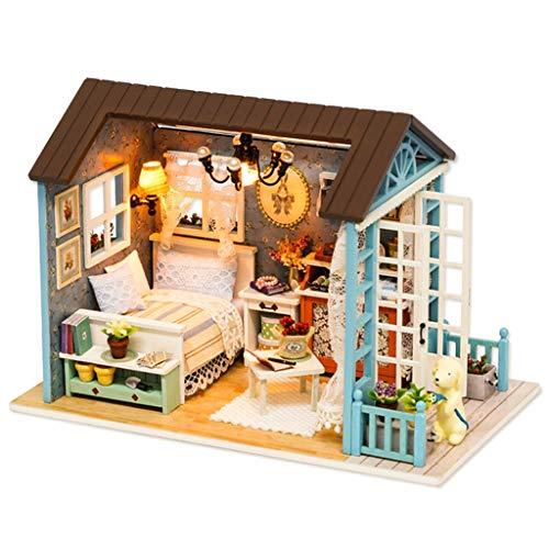 NHK-MX Kit de Casa de Muñecas de Madera en Miniatura para Bricolaje con Luces LED, música y Cubiertas Antipolvo (Color : Blue)