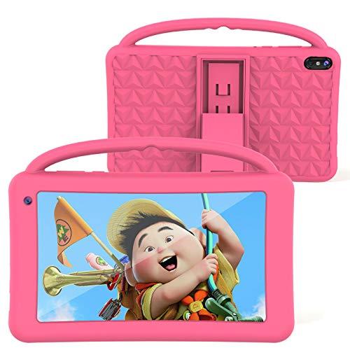 Tablet per bambini, 7 pollici, IPS HD, WiFi, QuadCore, Android 10.0, Pie Tablet PC per bambini, certificato GMS 2 GB + 32 GB, custodia portatile in silicone per bambini, regalo di compleanno