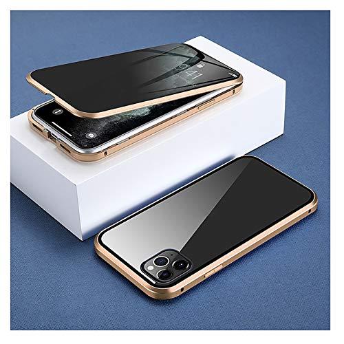 XWCG Funda para iPhone 12/12 Mini/12 Pro MAX Adsorción Magnética Parachoques Metal con 360 Grados Protección Case Cover Vidrio Templado Cubierta Anti-Peep Carcasa,Oro,12Mini