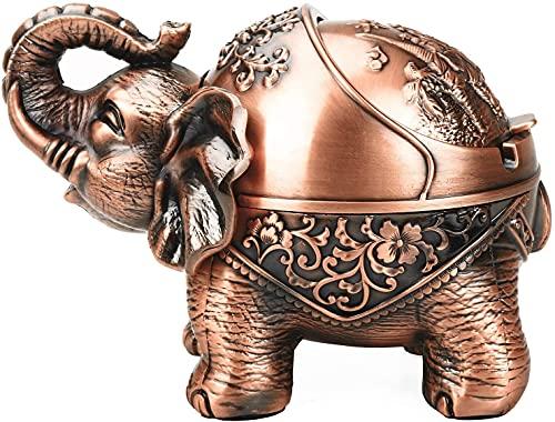 SeptYN Cenicero con Tapa para Cigarrillos Metal Portátil Cenicero Cenicero Olor Interior al Aire Libre Mano Tallado Stand Lucky Elephant Fancy Ornament para Hombres Mujeres,A