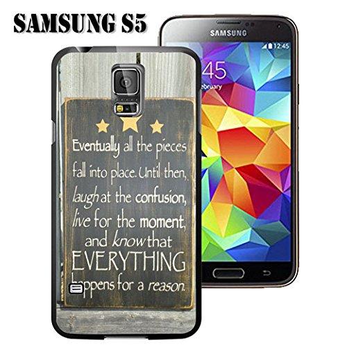Carcasa para Samsung Galaxy S5 (Poliuretano termoplástico), diseño de versículos de la Biblia y Texto en inglés Know That Everything Happens for a Reason